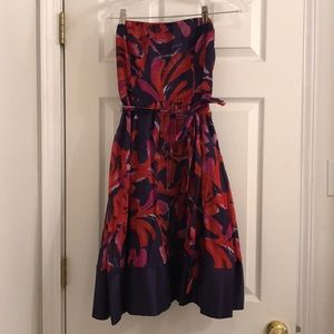 Limited red and purples flower strapless dress